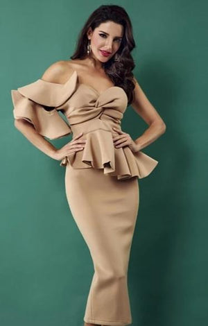 One Shoulder Ruffles Short Sleeve Strapless Dress