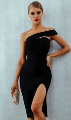One Shoulder Bandage Midi Dress