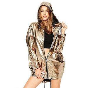 Hooded Shiny Metallic Bomber Jacket