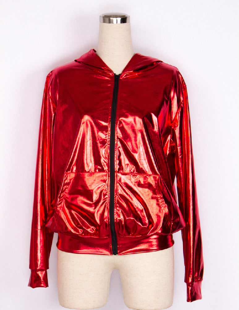 Shiny Red Bomber Jacket