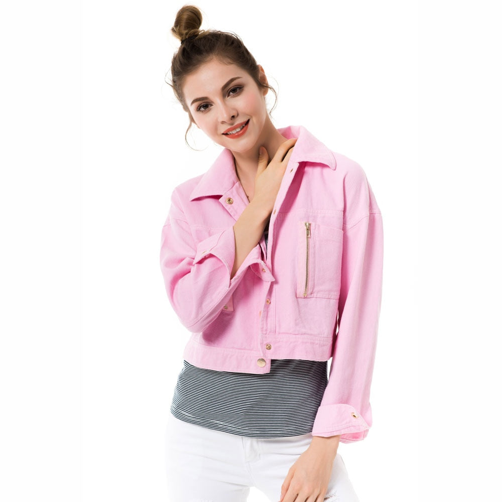 White Pink Denim Jacket