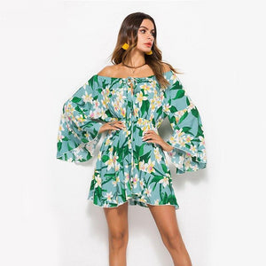 Flare Sleeve Sunflower Dress