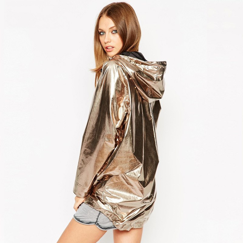 Lace Up Hooded Shiny Jacket