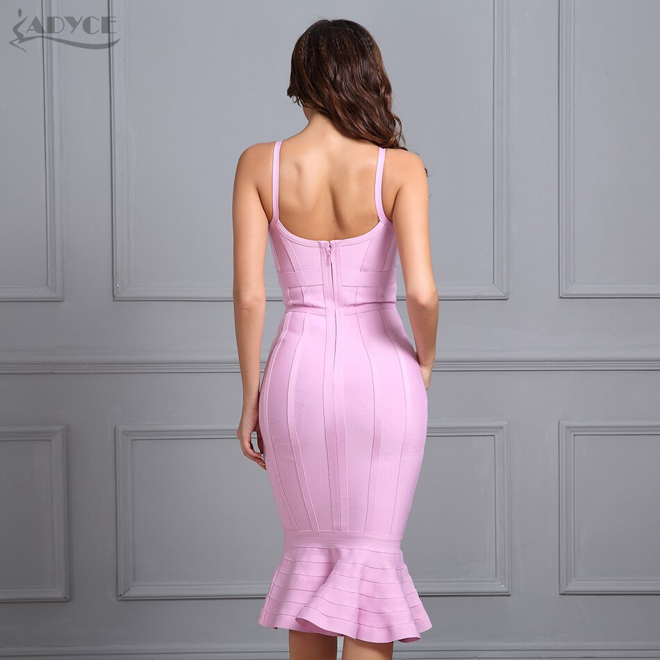 Mermaid V-Neck Bandage Midi Dress