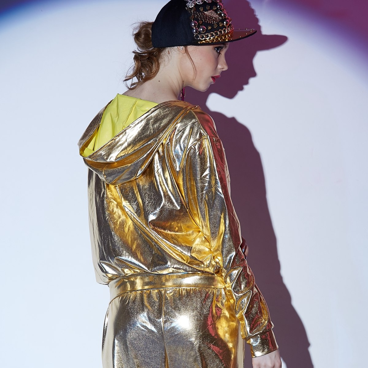 Shiny Gold Bomber Jacket