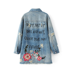 Floral Embroidery Ripped Denim Jacket