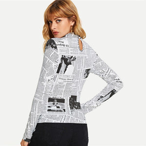 Newspaper Long Sleeve Top Tee