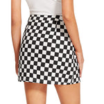 Checkerboard High Waist Skirt