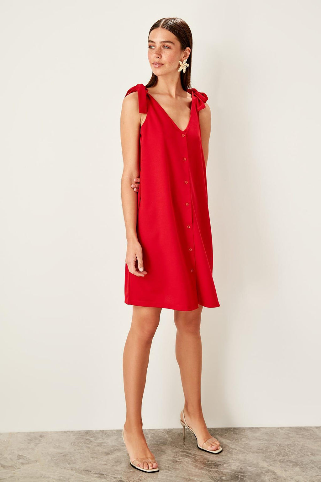 Red Lacing Detailed Knit Dress - emuuz.com