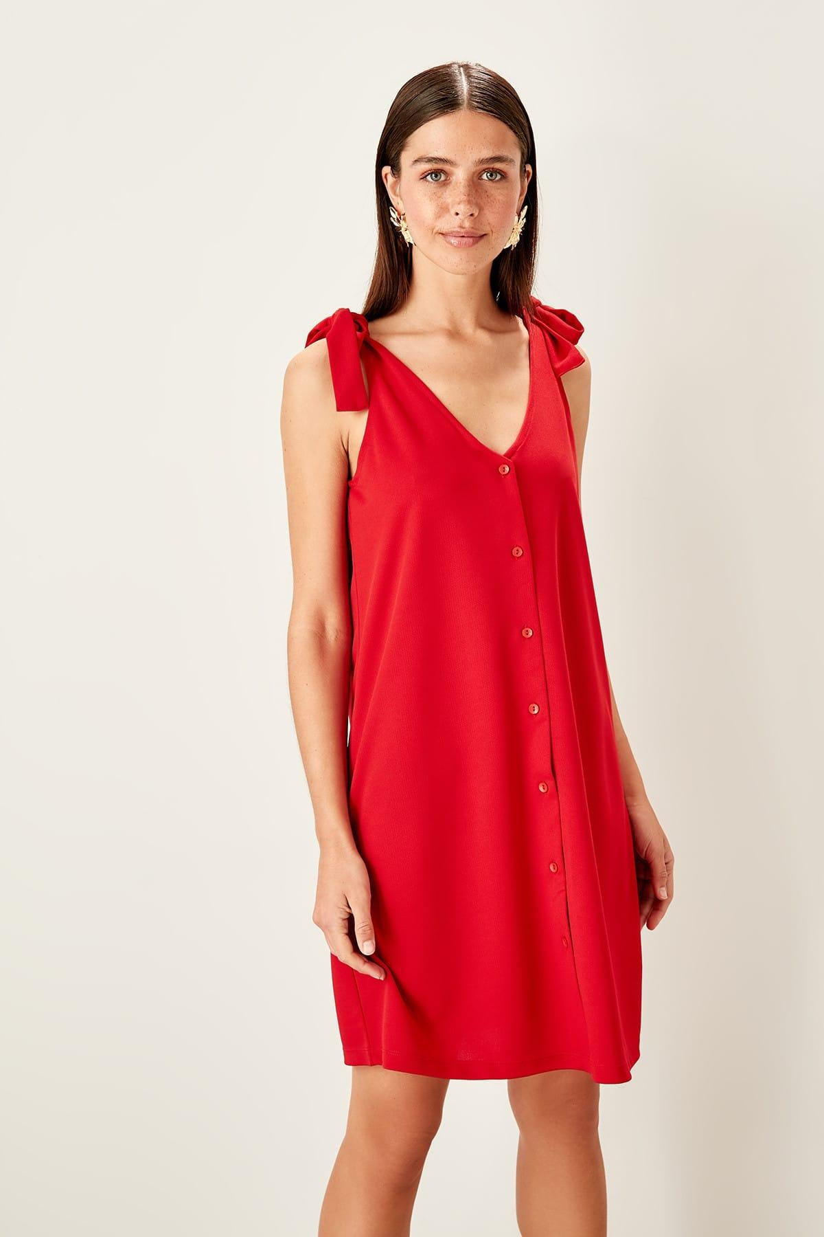 Red Lacing Detailed Knit Dress