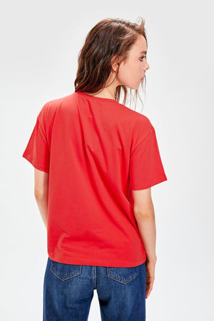 Red Basic Knitted T-Shirts