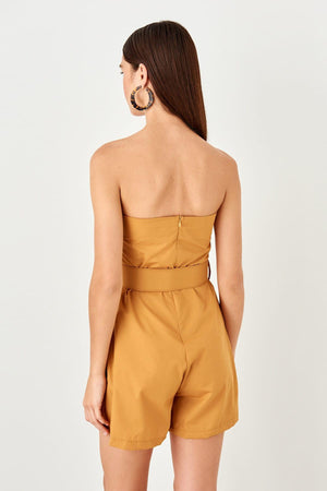 Camel Button Detail Kemerli Jumpsuit