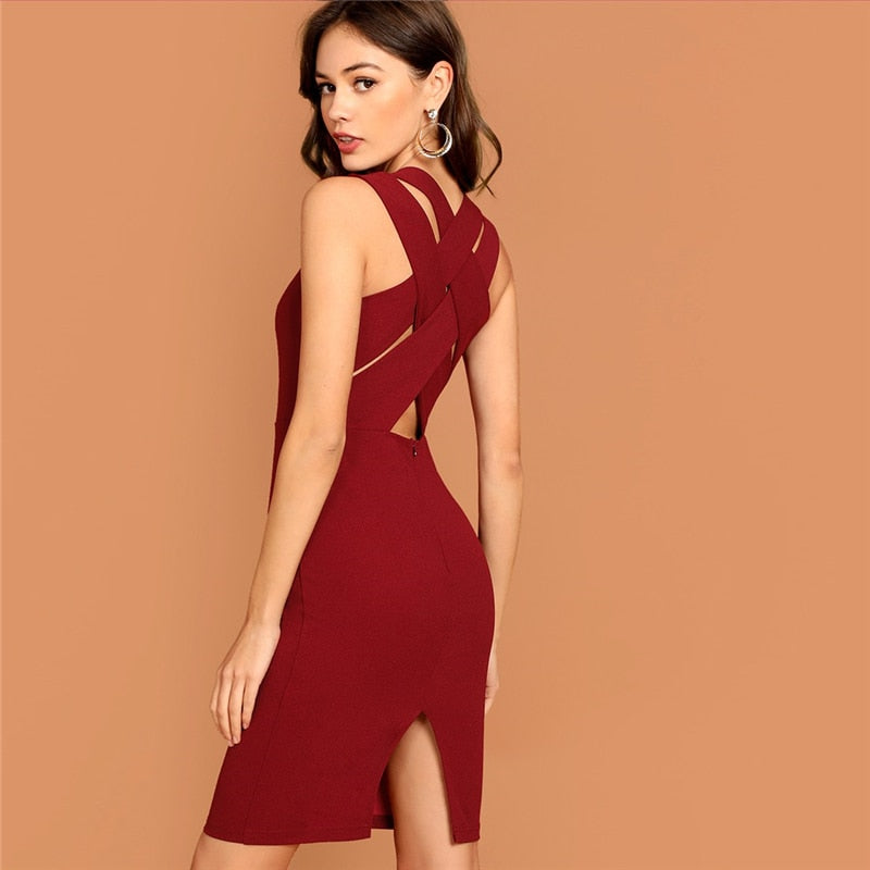 Plunging Neck Sleeveless Pencil Dress