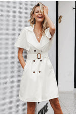 Ruffled Sleeve Sash Belt Office Dress