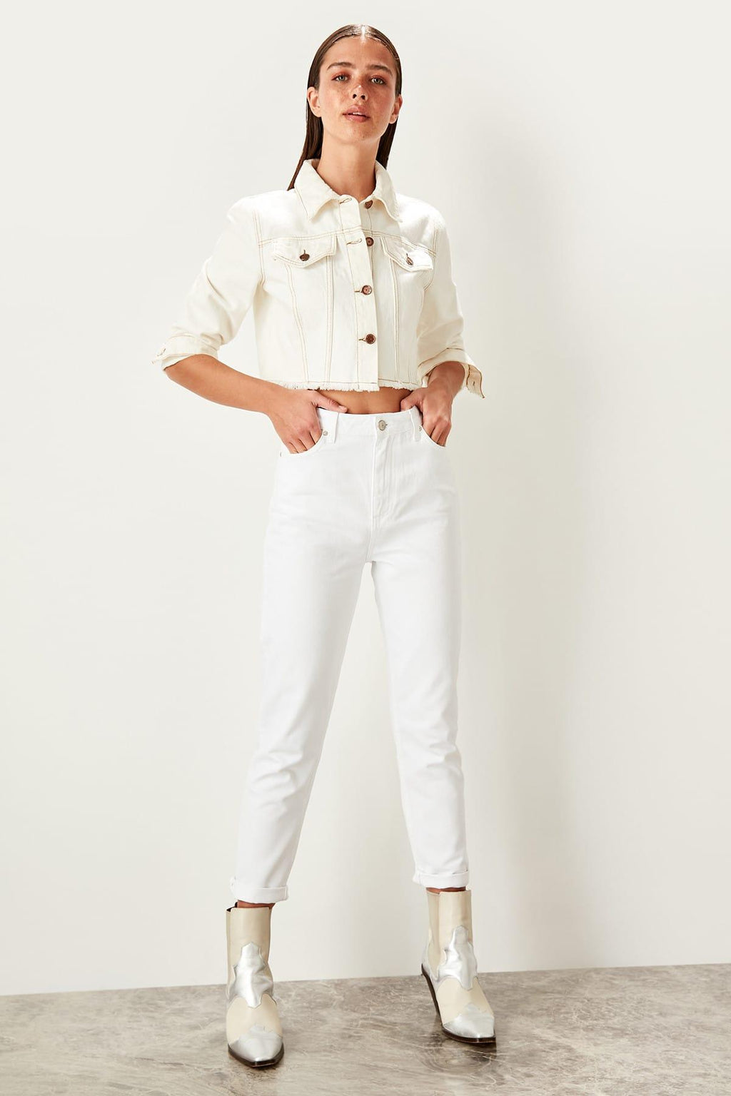 White High Waist Mom Jeans Casual Skinny Denim Pencil Pants