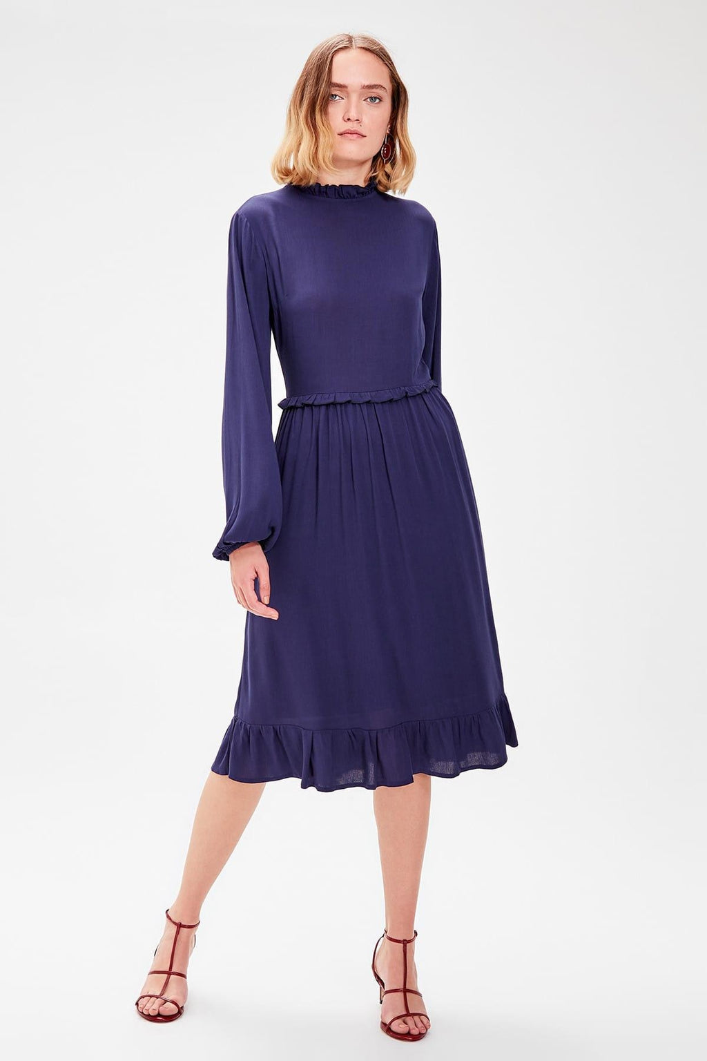 Navy Blue Ruffle Detail Dress - emuuz.com