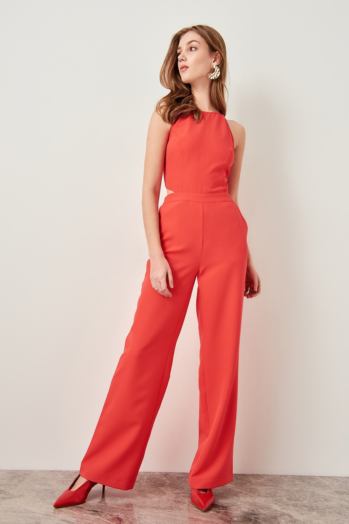 Coral Black Waist Decolletage Jumpsuit