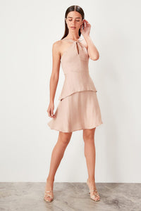 Camel Flounces Dress - emuuz.com