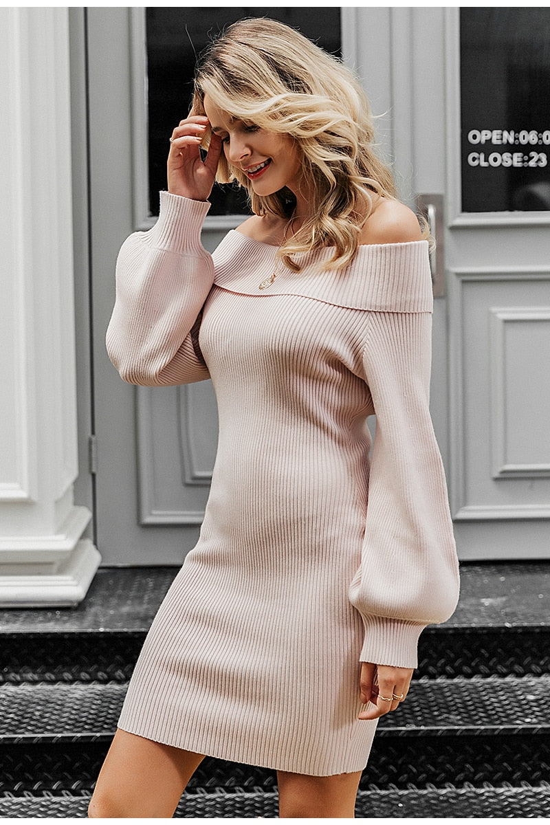 Knitted Dress Off Shoulder Long Sleeve Sweater Dress