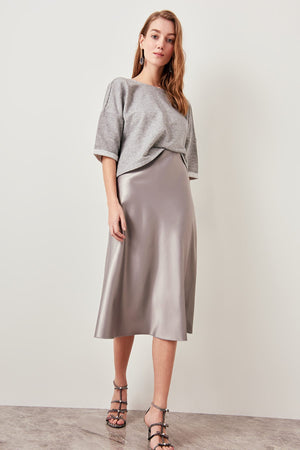 Silver Silk Satin Skirt