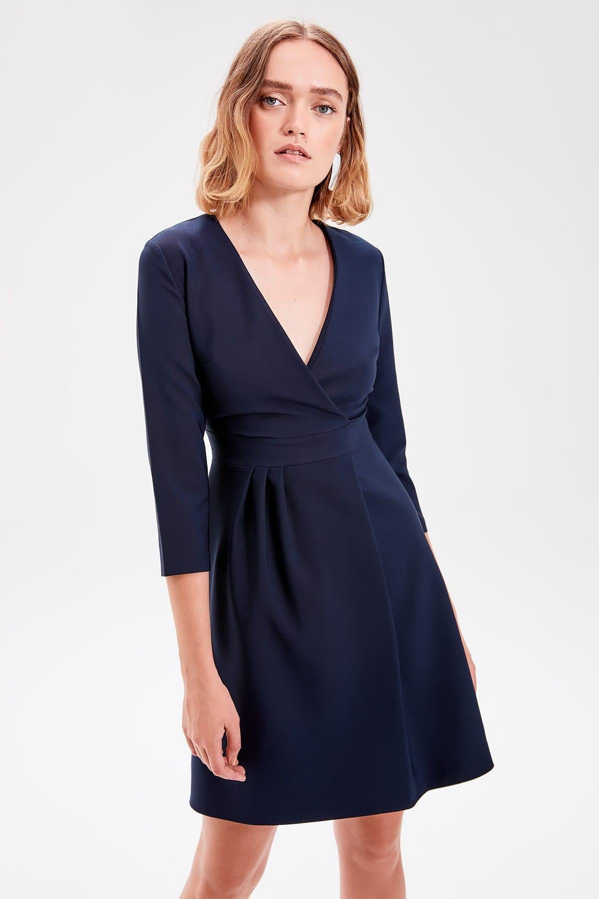Navy Blue Double Breasted Dress