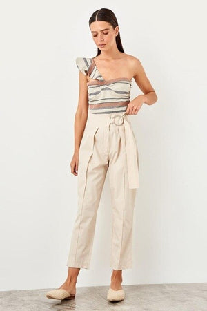 Plum arched Lyocell trousers