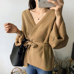 Tie Belt Wide Sleeve Sweater