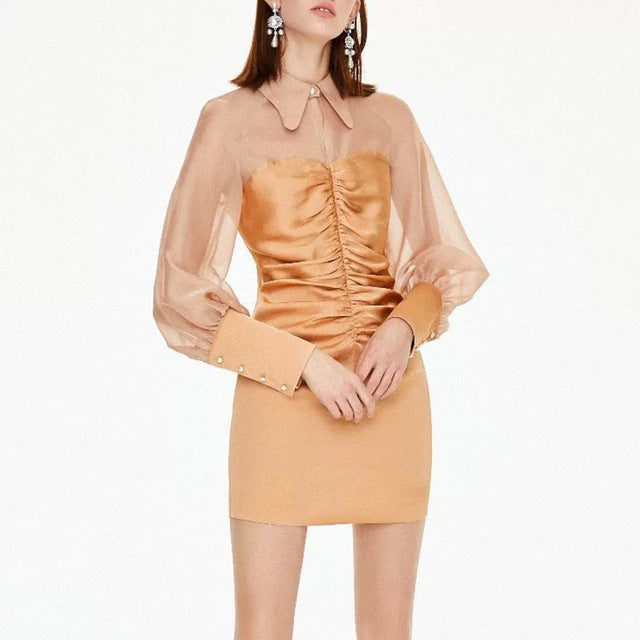 Patchwork Ruched Lantern Long Sleeve Lapel Collar High Waist Dress