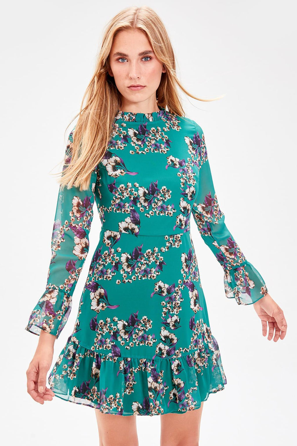 Emerald green Flower Pattern Dress - emuuz.com