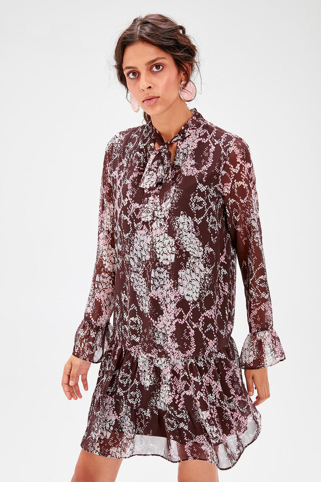Brown Print Dress