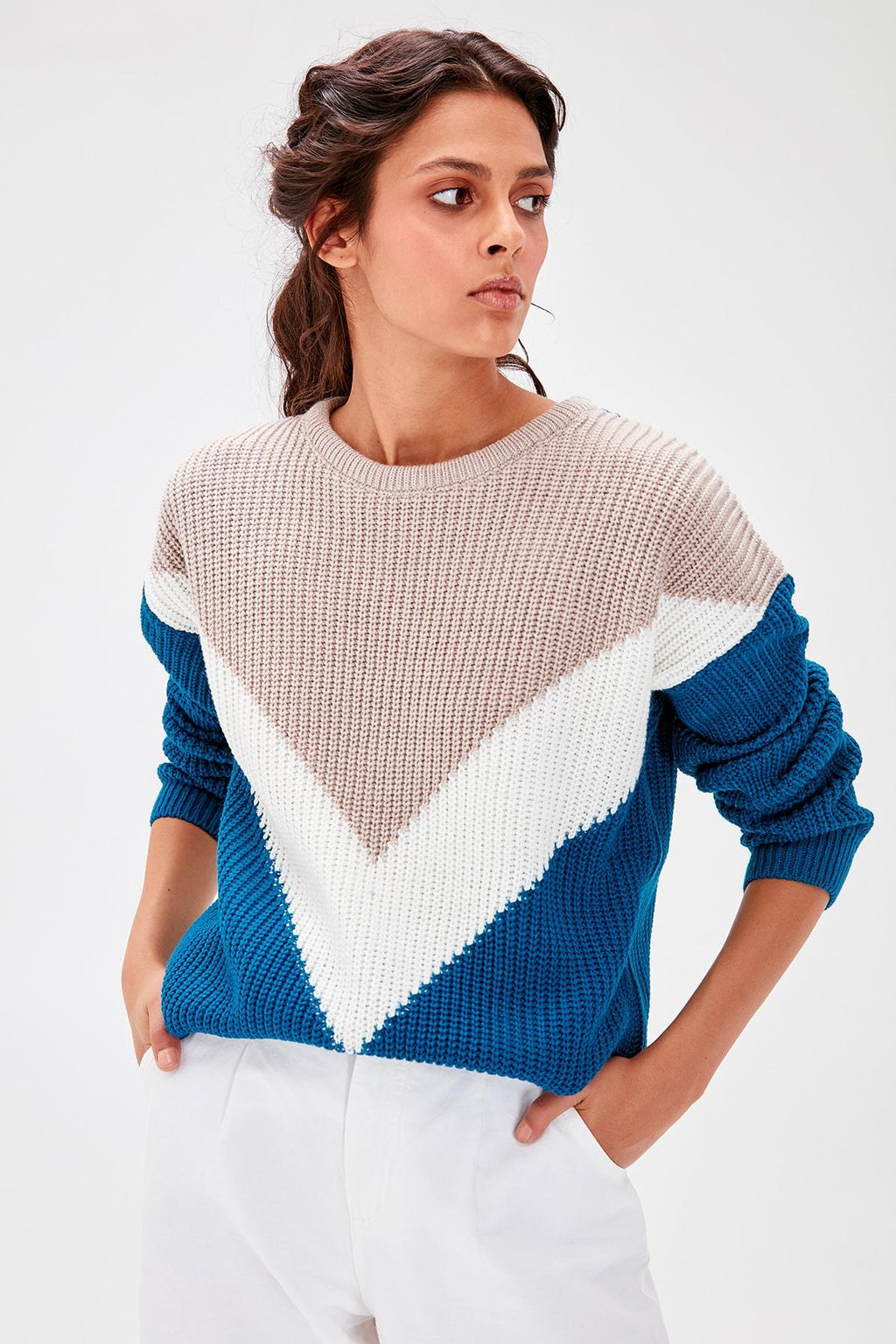 Multicolour Color Block Sweater Pullover