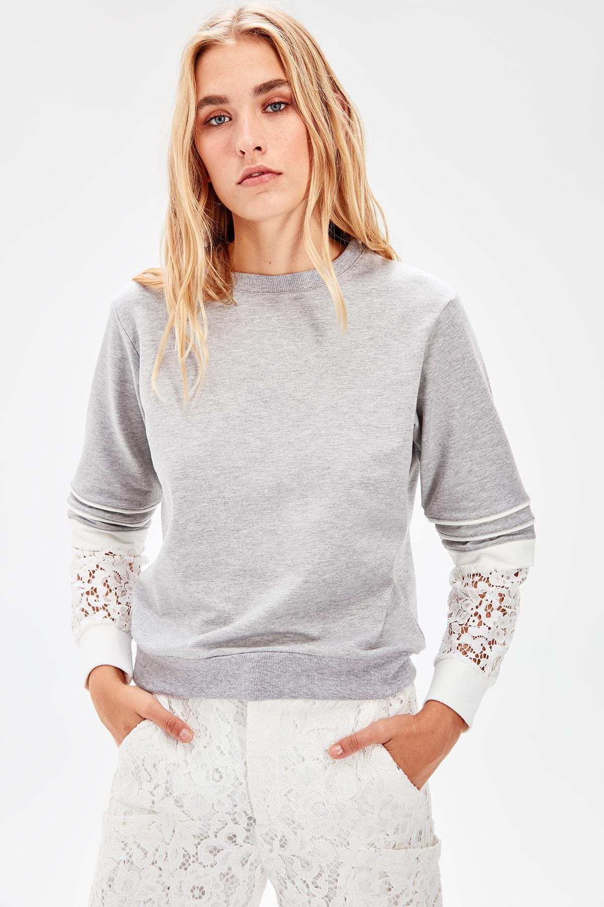 Gray Sleeves Ruched Knitted Sweatshirt