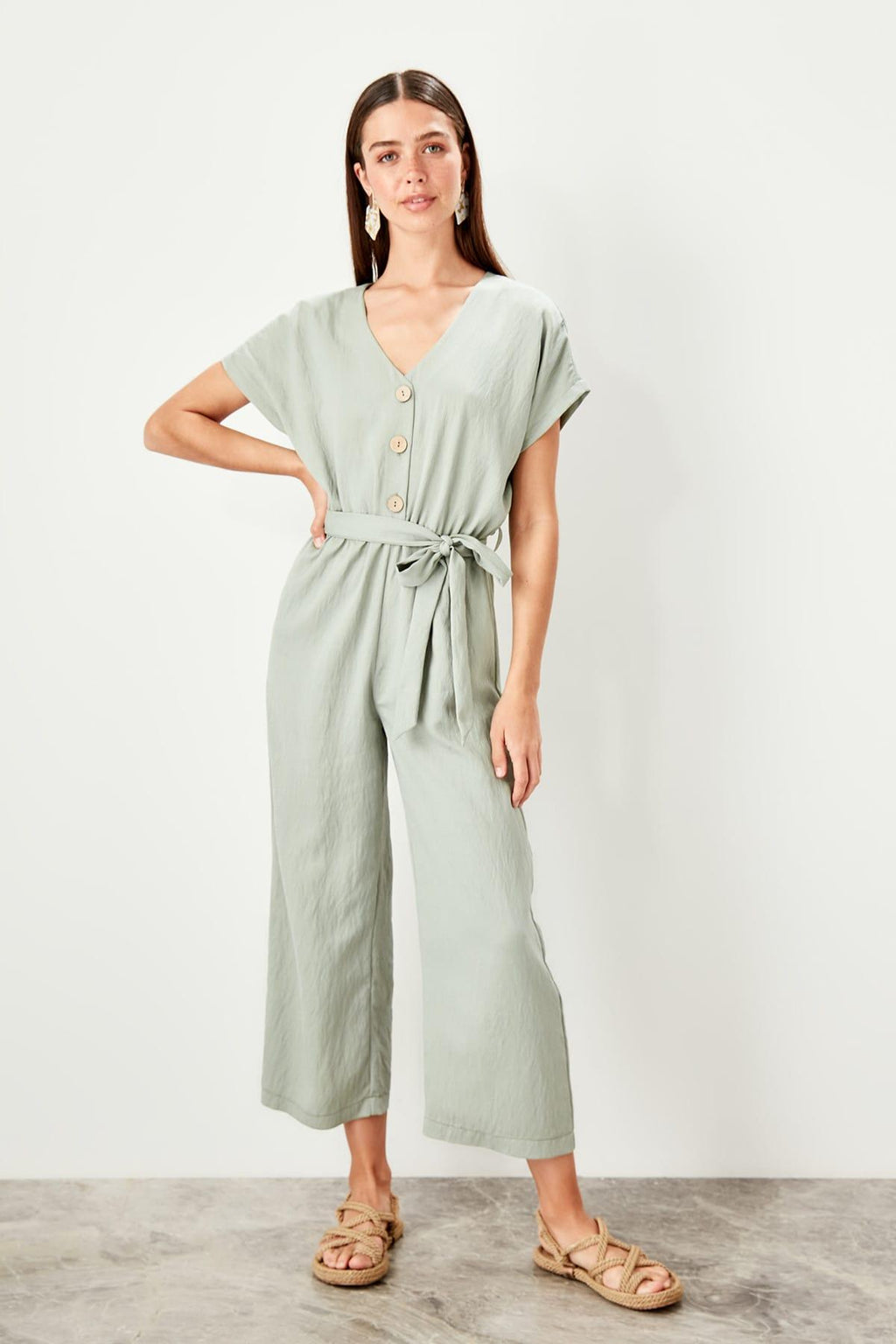 Haki Button Jumpsuit