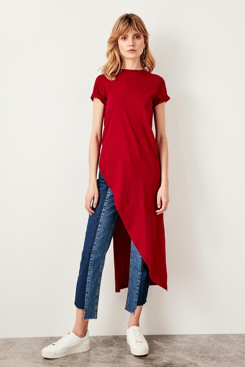 Burgundy Asymmetrical Knitted Long Blouse