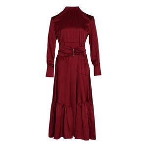 Hollow Out Puff Sleeve High Waist Dress