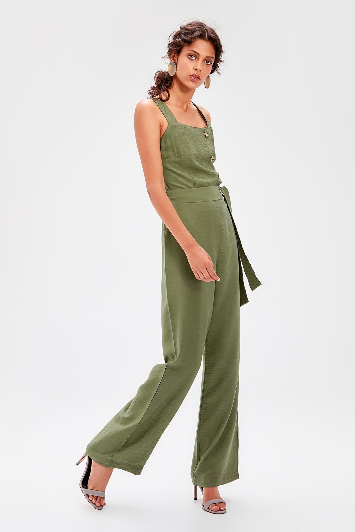Haki Belted Button Jumpsuit