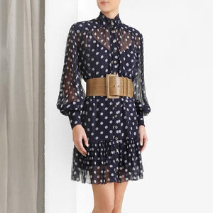 Polka Dot Stand Collar Lantern Sleeve High Waist Lace Up Dress