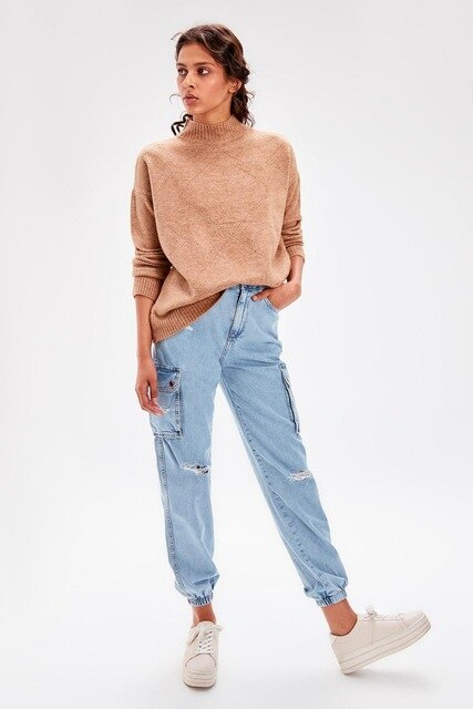 Camel Turtleneck Sweater - emuuz.com