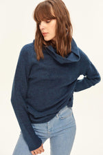 Women Navy Blue Turtleneck Sweater - emuuz.com