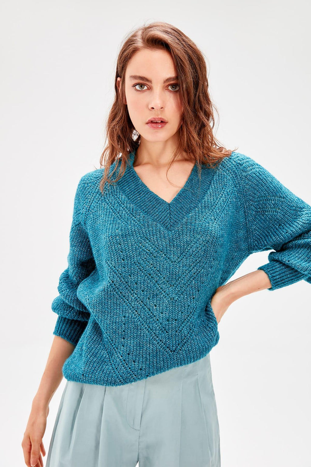 Petrol Balloon Sleeve Women Pullovers Mesh Detail Knitwear Sweater - emuuz.com