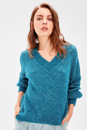 Petrol Balloon Sleeve Women Pullovers Mesh Detail Knitwear Sweater