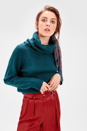 Light Green Turtleneck Pullover Sweater