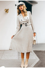 V-neck blazer midi dress