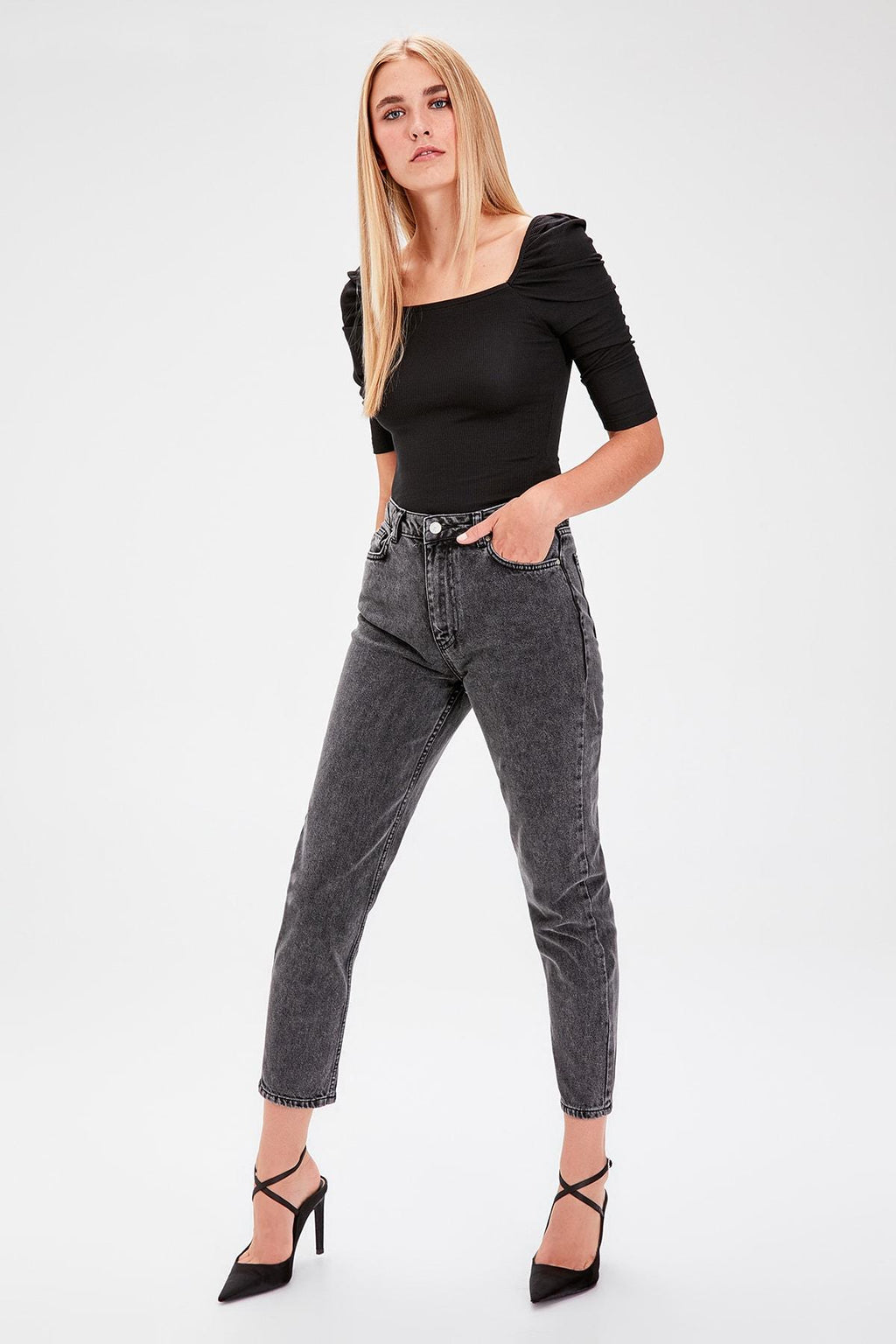 Anthracite Normal Waist Mom Jeans - emuuz.com