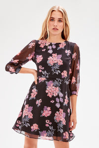 Black Patterned Dress - emuuz.com