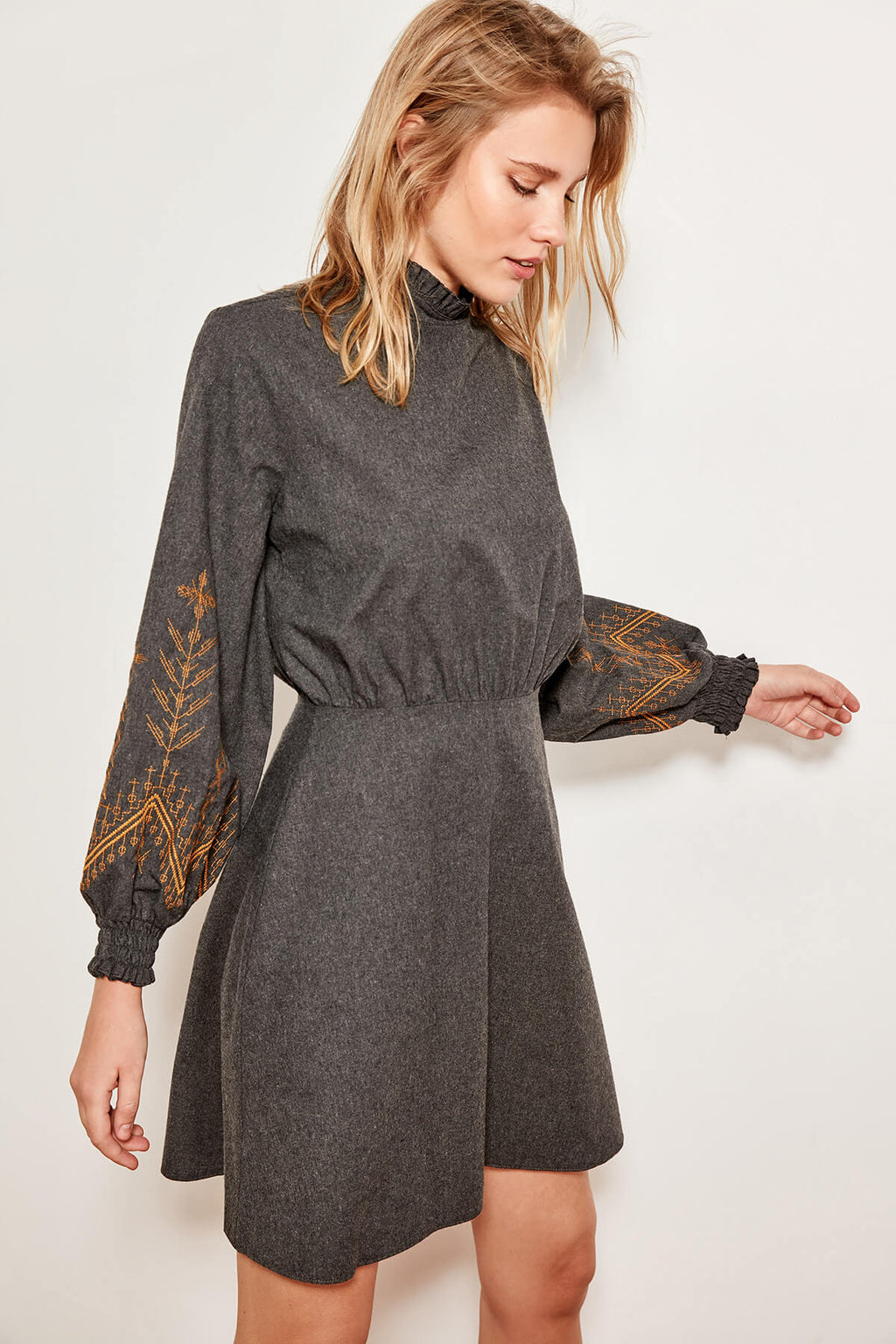 Advanced Embroidery Anthracite Dress
