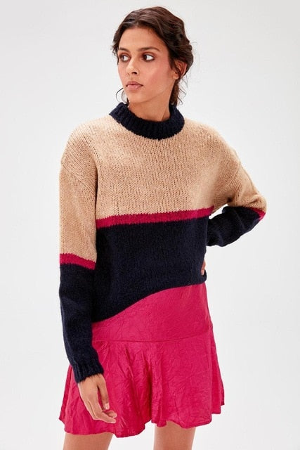Ecru Colorblock Sweater