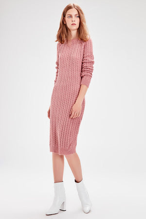 Color Rose Mesh Pattern Sweater Dress