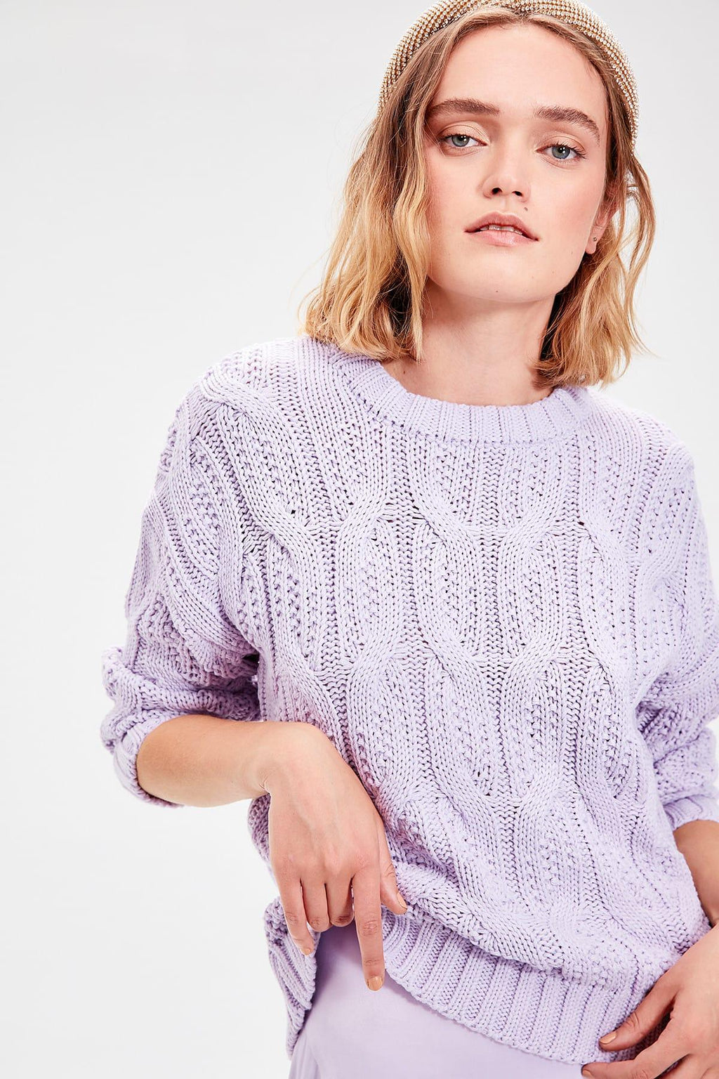 Lilac Hair Braided Knitwear Sweater