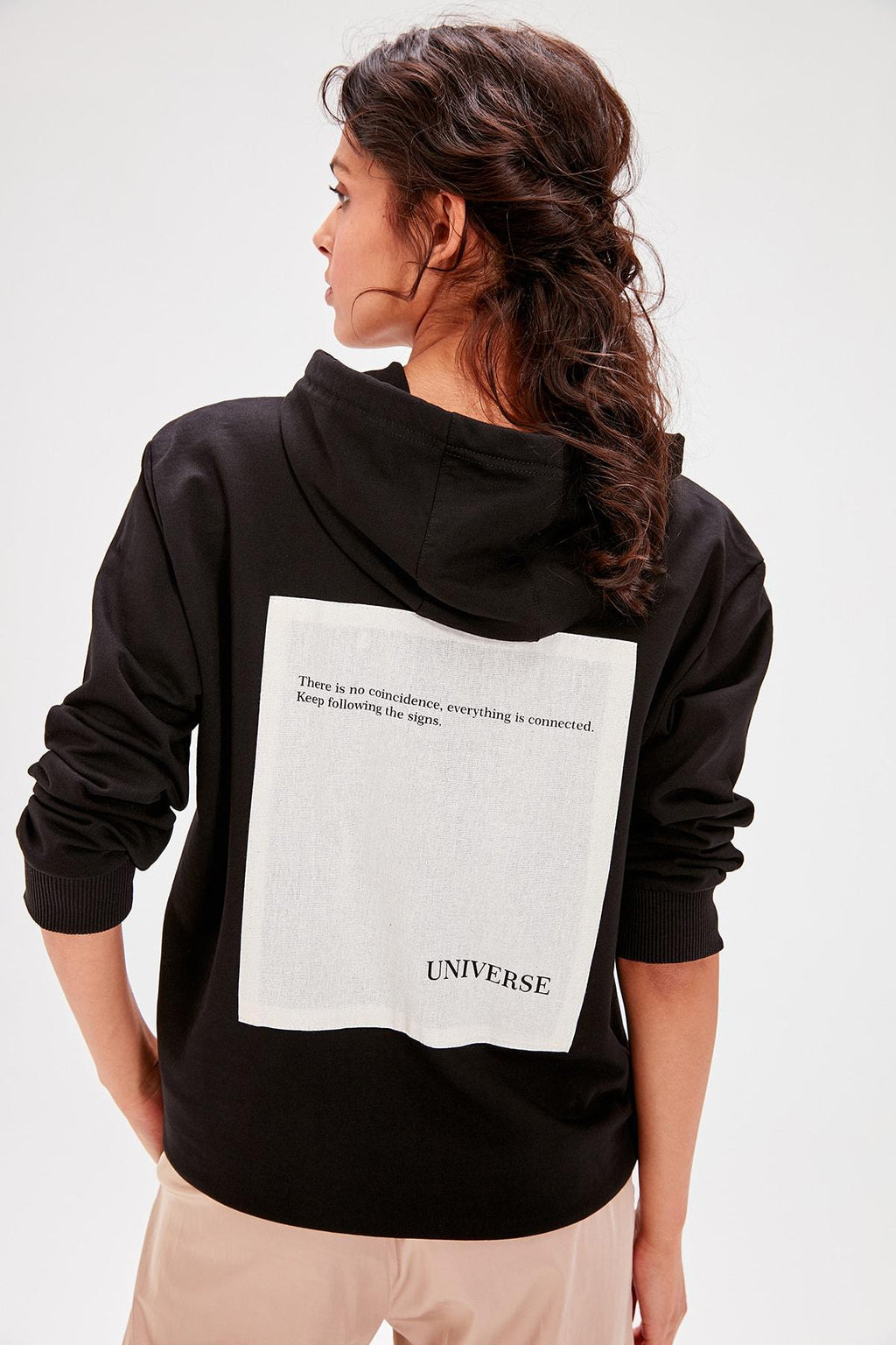 Black Back Printed Knitted Sweatshirt